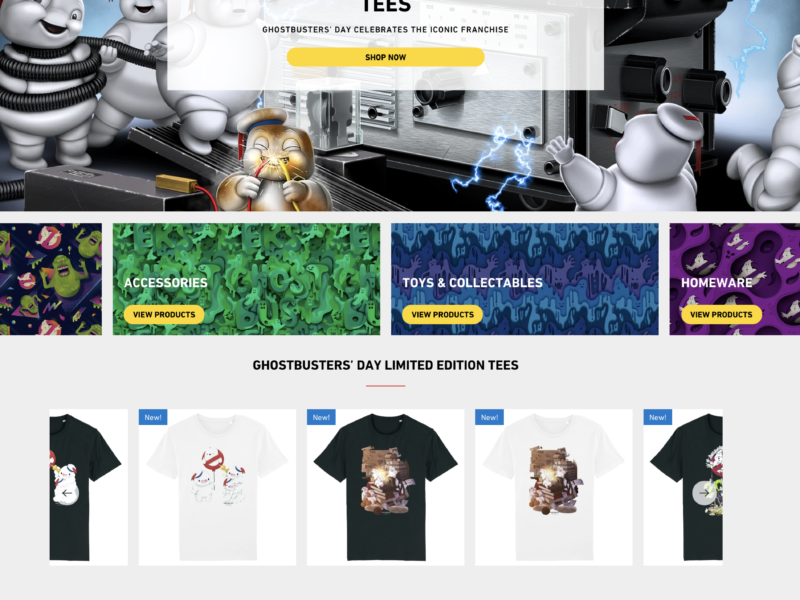 Ghostbusters online store Event Merchandising